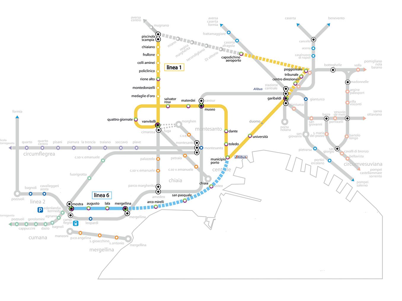 metropolitana di napoli - cartina